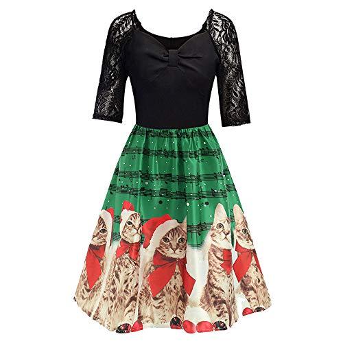 Xmiral Weihnachten Kleid Damen Elegant Vintage Xmas Print -