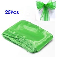 SODIAL (R) 25 Green Organza Copertura della sedia telai dell'arco per la cerimonia nuziale festa di compleanno decorazione