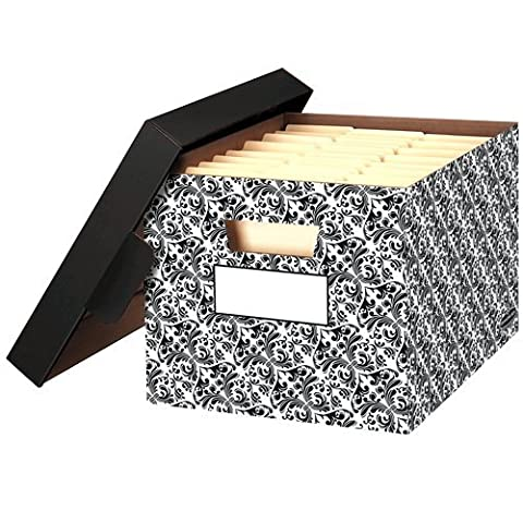 Bankers Box Stor/File Decorative Storage Boxes, Letter/Legal, 10 x 12 x 15 Inches, Brocade, 4 Pack (0022705) by Bankers Box