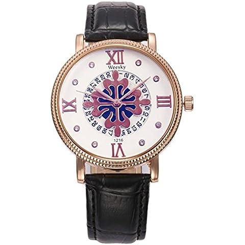 pkaty Donna Nobile cinturino in pelle PU strass parrern quadrante analogico al quarzo polso watches-black