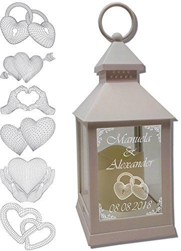 Udig.de Mini Laterne mit LED Kerze weiß Mod. 3 mit Text und 3D Motiv-Gravur 24x10x10 cm mit Timerfunktion - Hochzeitslaterne