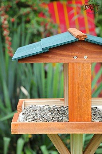 vogelfutterhaus,XXL,mit Licht,DACH DUNKEL-GRÜN,mit Beleuchtung,LED-Licht / Vogelhaus,wetterfest IN DUNKELBRAUN,VIERDAORI-BEL-dbraun001 NEU MASSIVES GANZJAHRES-Vogelhaus,KOMPLETT mit Ständer !!! wetterfest lasiert, Vogelfutterhaus MIT-Futterstation Farbe braun dunkelbraun schokobraun rustikal klassisch,Ausführung Naturholz MIT WETTERSCHUTZ-DACH für trockenes Futter - 4
