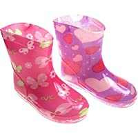 Mellow Be Soft Touch PVC Baby Girl Rain Boots In Pink With Butterflies or Purple With hearts. Available To Fit 15-24 Months (21-24mths (21), Purple hearts)