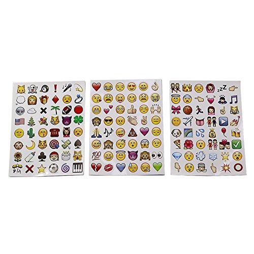 T-MEKA 2 hojas Adhesivo Emoticono para Teléfono Portátil, Ordenador Portátil, Decoración Cuaderno/condecoraciones Fantasía Caritas Sonrientes WhatsApp Facebook para Cartas, Tarjetas Regalo/juguete Smiley para Niños de los Símbolos Smiley Corazón