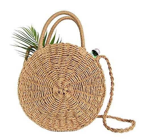 Stroh Crossbody Tasche Frauen Weben Umhängetasche Runde Sommer Strand Geldbörse und Handtaschen - Gefüttert Stroh Tote