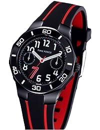 TIME FORCE Reloj De Pulsera Tf-3385B14 Cadete Acero 50M Cristiano Ronaldo NEGRO/ROJO