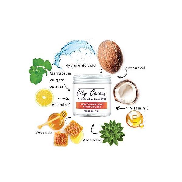 Crema solar SPF 50 con filtro UVA y UVB – Anti-contaminación – Acido Hialurónico – Día hidratante – Para la cara y el cuello de City Cocoon – 50ml