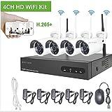 H.265 Kit Videosorveglianza WiFi Esterno Aottom 4 Canali 720P Sistema Videosorveglianza WiFi, CCTV Kit Videosorveglianza WiFi 4 Telecamere, Visione Notturna, Motion Detection, P2P, IP66 senza HDD