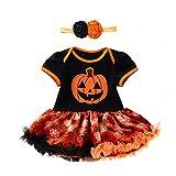 Jimmackey Neonata Pagliaccetto, Infantile Zucca Ricamo Splice Tutu Tutine Body + Fascia Halloween Costume (Giallo, 3 Mesi)