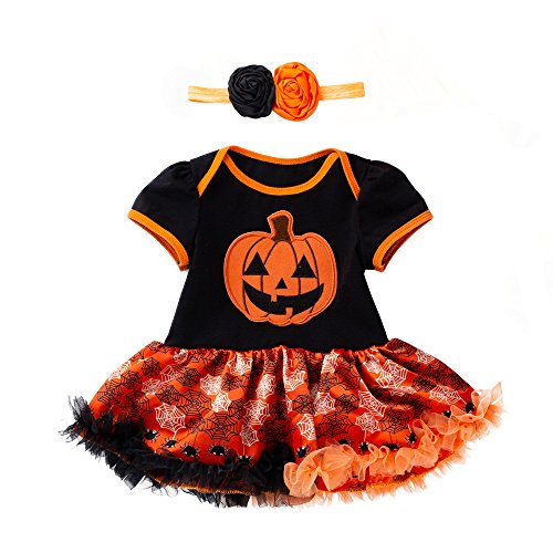 Kostüm Party Clipart Kinder - SEWORLD Baby Halloween Kleidung,Neugeborenes Niedlich Infant Kleinkind Baby Mädchen Halloween Kürbis Bogen Party Kleid Kleidung Kleider(Gelb3,6 Monate)