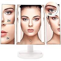 Espejo Maquillaje,BESTOPE 17 Pulgadas Espejo Cosmético,Luz ajustable con 24 LED,Tríptica Aumentos 1X, 2X, 3X,10X Rotación ajustable de 180 °, fuente de alimentación doble, espejo cosmético encimera