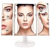 Specchio per Trucco Ingranditore 10x 3x 2x 1x, Specchio Trucco Illuminato con Rotazione 180° con 24 Luci LED Touch Screen Regolabile Tri-pieghevole Specchio Cosmetico Ideale per Regalo, Trucco, Rasatura