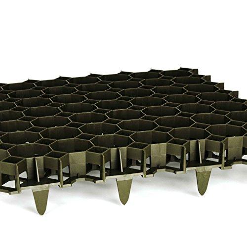 TerraGala 4er Pack Rasengitter (Gesamtfläche: 0,9m²) grün, Wabengitter Platten zum Rasen- und Bodenschutz