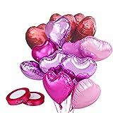 Helium Luftballons Hochzeit Herz Ballons Rot Lila und Helium Ballons Herz Rosa 46cm Set of 18
