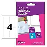 Avery hal04Create Your Own bedruckbar A6Blatt Paket Rechteck Etiketten, 64x 38mm–weiß, 40Stück