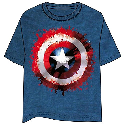 Avengers Captain America - T-shirt Maglietta a Maniche Corte - Adulto - 100% Cotone _ Prodotto Originale [Blu - S]