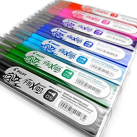 Frixion Point–Ultra Fine effaçable Stylo à–0,5mm Aiguille point–3recharges de chaque couleur