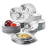 VEWEET Zoey Servizio da Tavola in Porcellana Stoviglie Set 48 Pezzi con 12 Ciotola per Cereali, 12 Piatti, 12 Piatti Fondi e 12 Piatti da Dessert per 12 Persone
