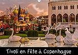 Tivoli en fête à Copenhague : Le jardins de Tivoli au centre de la ville de Copenhague, les décors et lumières des fêtes de fin d'année. Calendrier mural A3 horizontal 2016