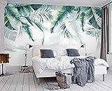 ZAMLE Papier Peint Photo Personnalisé Rétro Tropical Rain Forest Palmier Feuille De Banane Feuilles Murale Café Restaurant Toile De Fond 3d Fond D'écran, 200x140 cm (78.7 x 55.1 in)