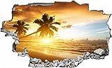 DesFoli Strand Sonnenuntergang 3D Look Wandtattoo 70 x 115 cm Wanddurchbruch Wandbild Sticker Aufkleber C328
