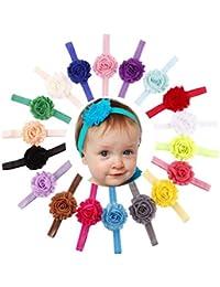 Tefamore Diademas Del Bebé Flor Hairband Accesorios Headband Venda Banda Para El Cabello Punto Onda Elástica Fotografía Prop(18PCS)