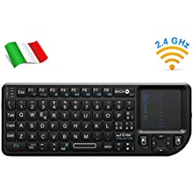 Rii Mini X1 Wireless (layout ITALIANO) - Mini tastiera con mouse touchpad per Smart TV, Mini PC, HTPC, Console, Computer