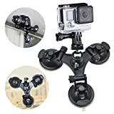 #9: Erligpowht Three Suction Cup Mount with Greater Suction Power+ 1/4 Inch Tripod Mount Adapter + A Stainless steel Tripod head for GoPro Hero 4 3+ 3 2 1