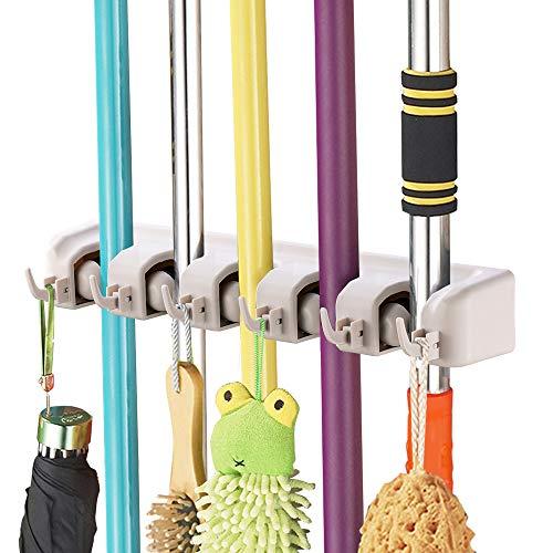 MOP und Besen Halter, imillet-wall montiert orgnizer-mop und Besen für Werkzeug Rack mit 5Ball Slots und 6Haken (grau) 01 Wall Mount