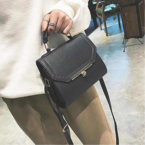 BZLine® Frauen Solid Lock Messenger Taschen Crossbody Schultertaschen taschen Schwarz