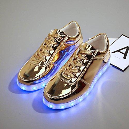 LED Chaussures, Malloom® LED USB Lumière de recharge Chaussures Up Glow Chaussures de sport de mode clignotantes Luminous Or