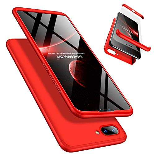 Funda Xiaomi 8 Lite 360°Caja Caso + Vidrio Templado Laixin 3 in 1 Carcasa Todo Incluido Anti-Scratch Protectora de teléfono Case Cover para Xiaomi 8 Lite (Rojo)