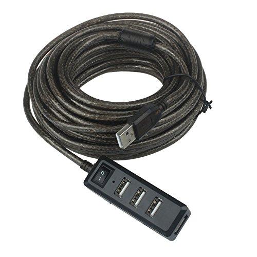 4-Port USB 2.0 Hub mit High Speed Adapter Ein/Aus-Schalter für Laptop (10m,Schwarz)