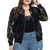 Oliviavan Große Damen Beach Cardigan Jacke aus Spitze Oversize Oberteile T Shirt Pullover Shirts Tunika Mode für Mollige Blusen Tops Streetwear Schwarz