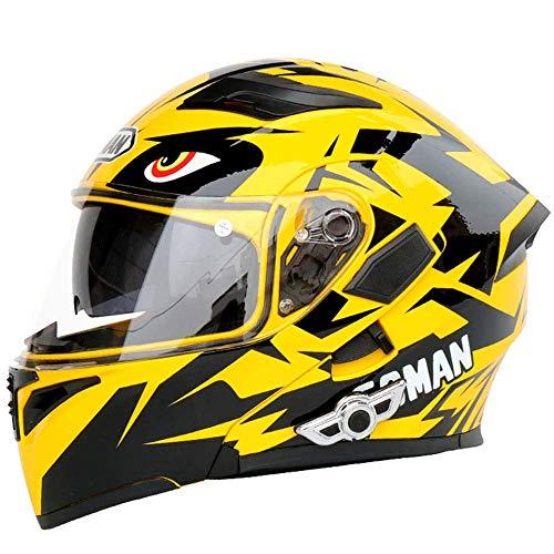 Fire wolf: casco moto casco moto smart bluetooth casco casco doppia lente casco viso aperto moto esterna da corsa equipaggiamento protettivo: giallo (M)