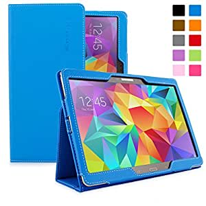Snugg Galaxy Tab S 10.5 Case - Smart Cover with Flip Stand & Lifetime Guarantee (Blue Leather) for Samsung Galaxy Tab S 10.5