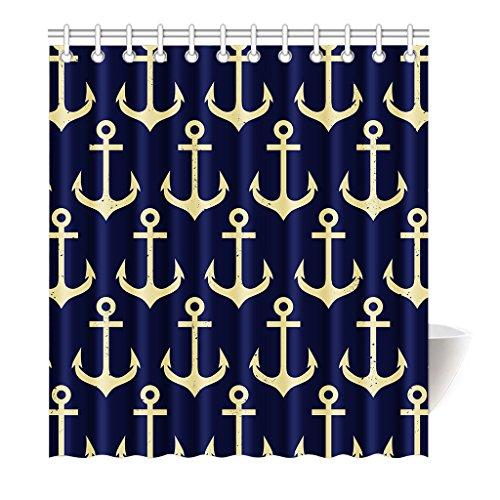 Preisvergleich Produktbild Violetpos Duschvorhang Jahrgang Anchor Tiefes Blau Hochwertige Qualität Badezimmer 120 x 180 cm