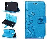 ZeWoo Folio Ledertasche - R149 / Schmetterling und Blume (blau) - für Microsoft Lumia 640 XL / Lumia 640 XL Dual-SIM (5,7 pollici) PU Leder Tasche Brieftasche Case Cover
