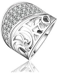 joyliveCY Moda plata de ley 925joyería tamaño bastante floral anillo hueco amplia partido brillante 7