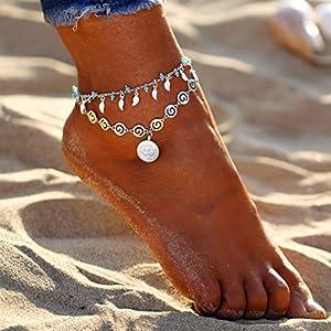 CanVivi Fußkettchen Damen Silebr Doppel Türkis Boho Style Fuß Kett Strand