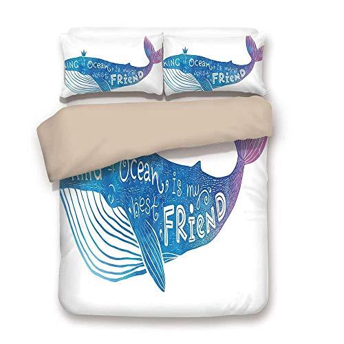 LnimioAOX Bettwäscheset, Khaki zurück, König, der König des Ozeans ist Mein Bester Freund in einem Aquarell-Zitat auf einem Wal-Print, blau und lila, Bettwäsche-Set Dezember (Bettwäsche-sets König In Lila)