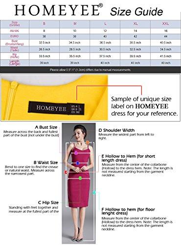 HOMEYEE Frauen elegante Rundhals Kurzarm Bodycon Knielänge zur Arbeit tragen Kleid B389 Schwarz
