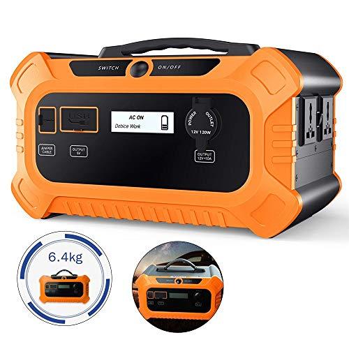 Tragbarer Generator 500W, USB und reiner Sinus-Wechselrichter Generator-Netzteil, mit Wechselrichter für Camping und Notfall (gelb)