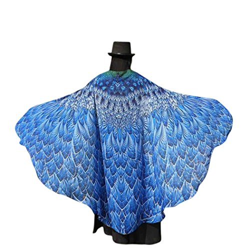 Overdose 197*125CM Frauen Weiche Gewebe Schmetterlings Flügel Schal feenhafte Damen Nymphe Pixie Kostüm Zusatz (197*125CM, Blau1)