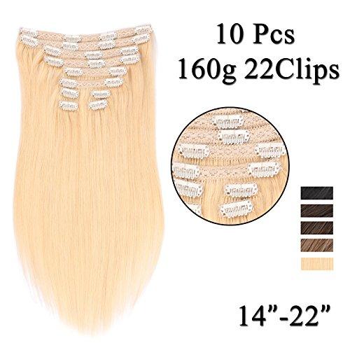 (35cm-55cm) Clip In Extensions 10 Teiliges SET 160g 100% Remy Echthaar für Komplette Haarverlängerung glatt Haarteile (60#, Platinum Blonde, 50cm) - Platin-geld-clip