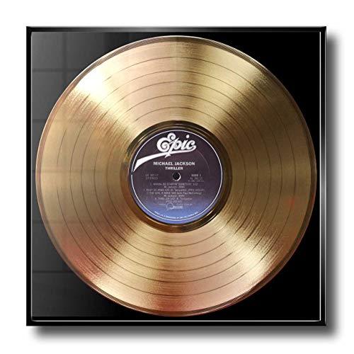DISC´O´CLOCK Michael Jackson - Thriller: Rahmen MIT Goldener ERINNERUNGSSCHALLPLATTE! - SUPER Geschenk FÜR Alles Fans, Musiker, DJS UND Bands 24UHR MOGLICH! Made IN Italy (Jackson Dj)