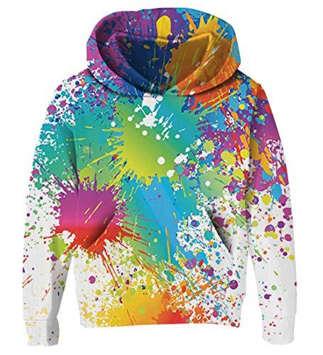 Goodstoworld 3D Paint Hoodie Teenager Boys Girls Weiß Pullover Coole Bunt Druck Lange Ärmel Kapuzenpullover Kapuzensweatshirt
