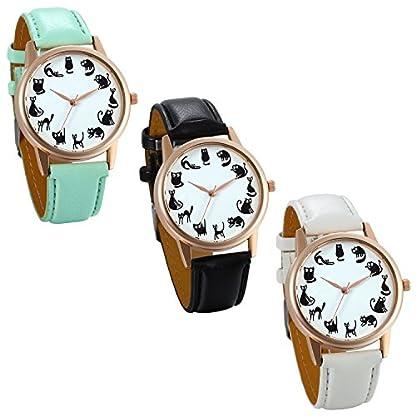 JewelryWe-Damen-Armbanduhr-niedliche-Kleine-Cartoon-Katze-Ktzchen-Analog-Quarz-Elegant-Uhr-Quarzuhren-mit-Leder-Armband-Farbe-Schwarz-Wei-Grn