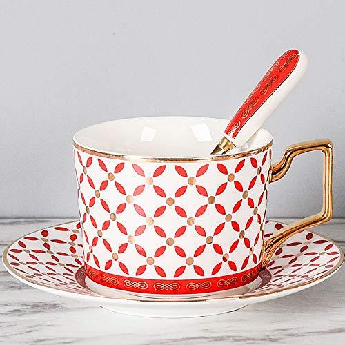 TRER Passionskaffeetasse mit Löffel - Premium Porzellan - Made in China - Spülmaschinen- und mikrowellengeeignet - 260 ml Fassungsvermögen (Color : C) (Made In Besteck Nicht China)