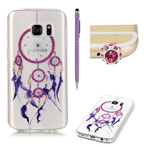 Samsung Galaxy S7 Case Clear Silicone,SKYXD Samsung Galaxy S7 Case Transparent With Pattern Purple Feather Dream Catcher Design Soft Gel Rubber Skin Premium Flexible Slim Thin Back Cover Crystal Clear Protective Case For Samsung Galaxy S7 +1x Cute Crown Dust Plug +1x Stylus Touch Pen Test